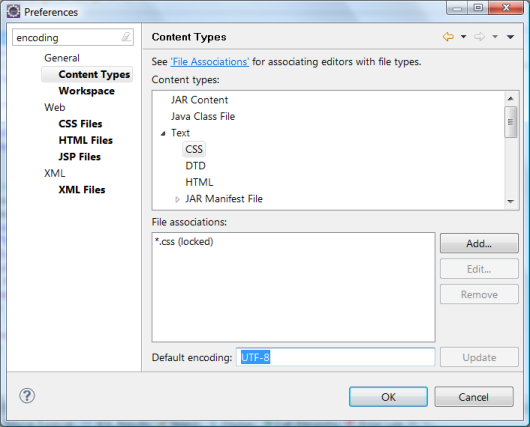 Screenshot of the Encoding -> Content Types section of the Workspace Preferences dialog in Eclipse IDE