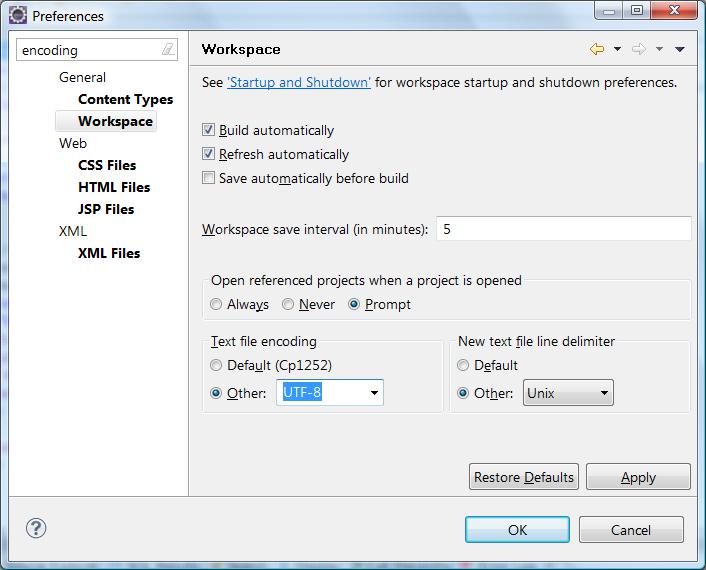 Unicode/UTF-8 in your Eclipse Java projects – Stijn de Witt