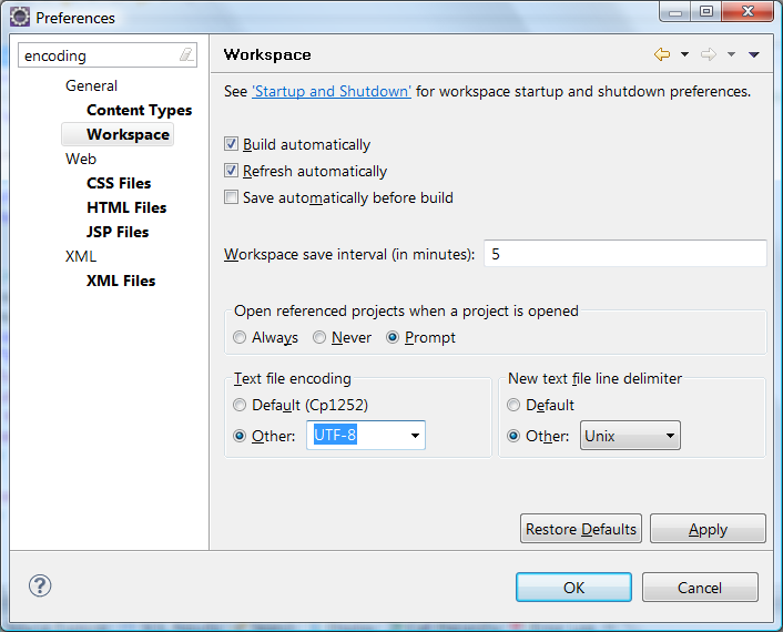 Screenshot of the Encoding -> Workspace section of the Workspace Preferences dialog in Eclipse IDE