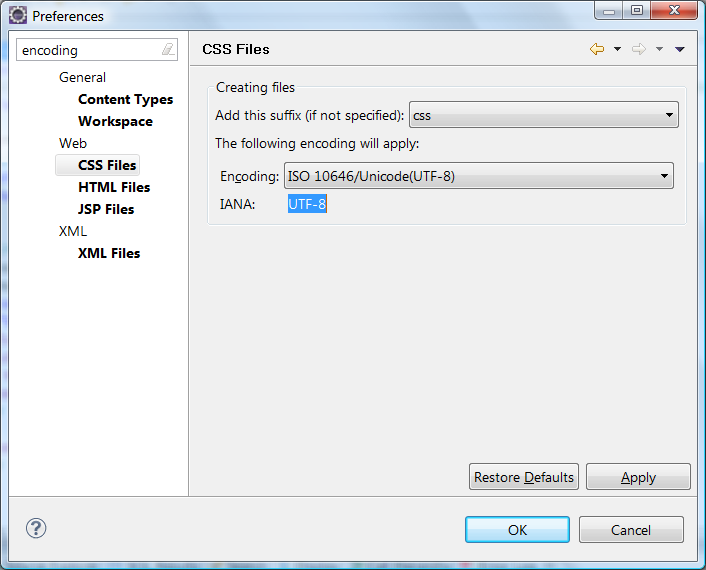 Screenshot of the Web/XML -> Files section of the Workspace Preferences dialog in Eclipse IDE